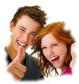 two teens giving thumbs up