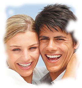 young couple with bright smiles